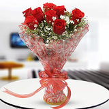 Floraindia. Fresh Flowers Bunch of 8 Red Roses I Same Day Delivery Flowers I Birthday Flowers.