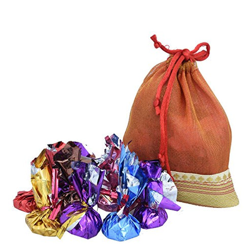 Chocoworld Mini Chocolate Gift Pack in Potli Bag (Orange) - 10 Pieces