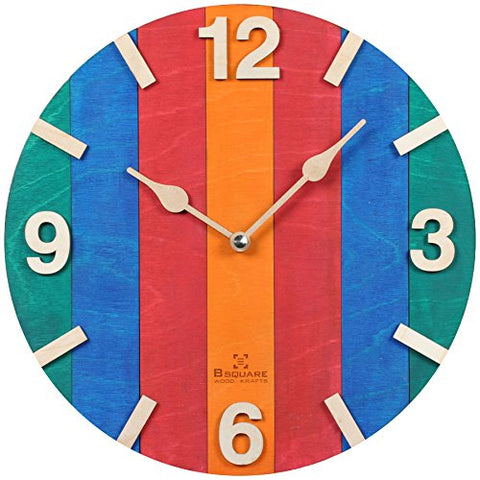 B SQUARE 1 Feet Natural Wood Wall Clock BSWC046