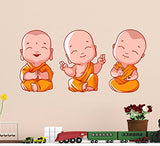 Decals Design 'Buddha Design Three Baby Monk' Wall Sticker (PVC Vinyl, 60 cm x 45 cm)