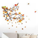 Decals Design 'Autumn Leaves and Birds' Wall Sticker (PVC Vinyl, 50 cm x 70 cm, Multicolour)