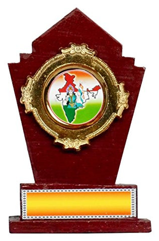 GEETHA HANDICRAFTS Wooden Trophy, 20 cm x 5 cm x 25 cm (Gold)