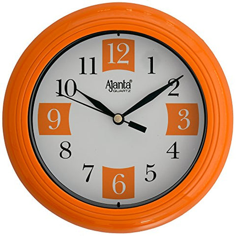 Ajanta 7 inches Wall Clock for Home/Offces/Bedroom/Living Room/Kitchen (Step Movement, Orange)