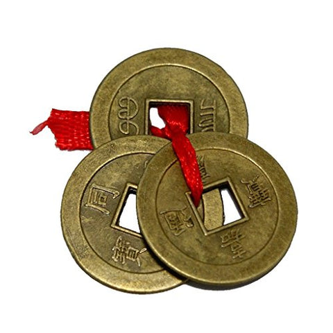Divya Mantra Metal Chinese Feng Shui Ching Amulet Good Luck Coins (Brown)