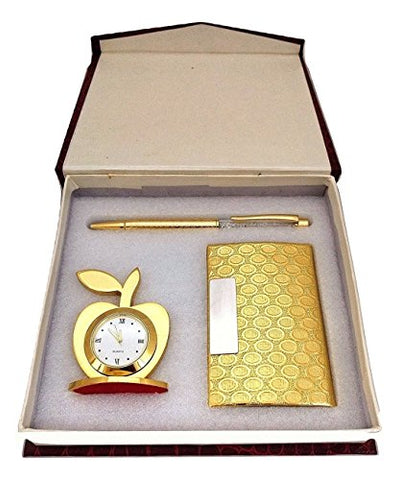 Aqeeq 3 In 1 Golden Gift Set With Apple Clock,Crystal Pen,Business Card Holder, Free Magnetic Leather Jewellery Box,Excellent Quality (Golden)