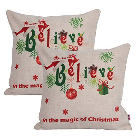 Believe In The Magic Of Christmas : Queenie® - 2 Pcs Christmas SeriesThick Cotton Linen Decorative Pillowcase Cushion Cover for Sofa Throw Pillow Case (Believe In The Magic Of Christmas)