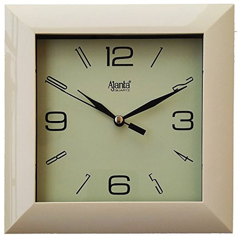 Ajanta 7 inches Wall Clock for Home/Offces/Bedroom/Living Room/Kitchen (Step Movement, Ivory)