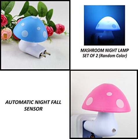 Pindia NMushroomLampSetof2 0.2-Watt Automatic Night Sensor Mushroom Lamp (Pack of 2, Multicolour)