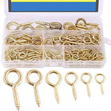 DIY Crafts Pack of 100 Mini Tone Screw 100-Pieces 6 Size Brass Plated Screw Eyes Lag Thread Hanging Hooks Assortment Set (Gold 100pcs)