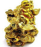 RIPE INDIA Porcelain Laughing Buddha on Dragon Showpiece (Golden)