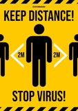 Bikri Kendra - Keep Distance - Corona Virus Precaution Health Poster for Office, Home, Public Places, Hospital, Clinic, School,Institute, socity, covid-19 / A4 Size