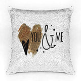 You & me Premium Printed Designer Magical Color Changing Sequin Mermaid Cushion Cover |16 by 16 inch | Reversible Paulette Design | Glam Pillow | HD Printed |Cushion Cover With Filler | Slim Light Weight.