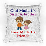Brother and Sister Premium Printed Designer Magical Color Changing Sequin Mermaid Cushion Cover |16 by 16 inch | Reversible Paulette Design | Glam Pillow | HD Printed |Cushion Cover With Filler | Slim Light Weight.