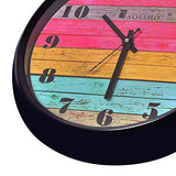 Amazon Brand - Solimo 12-inch Wall Clock - Coloured Stripes (Step Movement, Black Frame)
