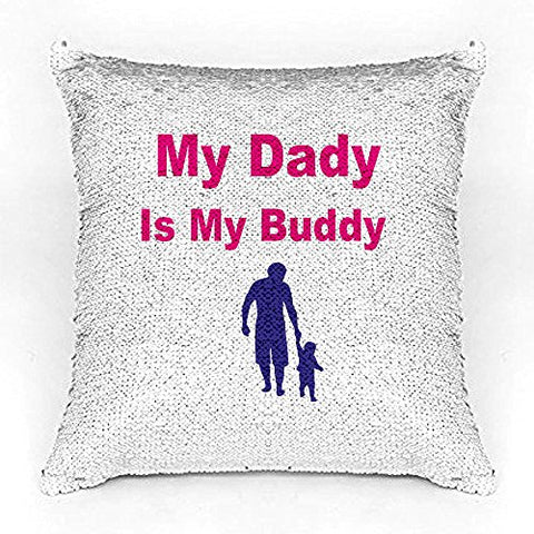 Best Dad Premium Printed Designer Magical Color Changing Sequin Mermaid Cushion Cover |12 by 12 inch | Reversible Paulette Design | Glam Pillow | HD Printed |Cushion Cover with filler | Slim Light Weight.