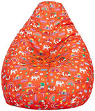 Amazon Brand - Solimo Quirky Red XXXL Printed Bean Bag Cover Without Beans