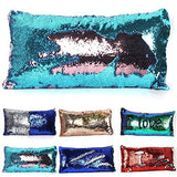 Acid Blue+Pink : Two-color Long Mermaid Pillow Cases DIY Magic Reversible SequinsChangeable Pattern Fashion Rectangle Pillowcase Car Sofa Home Decorative Cushion Cover 3060cm (Acid Blue+Pink)