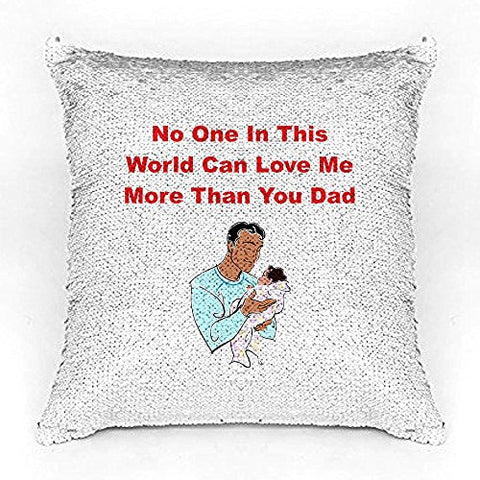 Best Dad Premium Printed Designer Magical Color Changing Sequin Mermaid Cushion Cover |16 by 16 inch | Reversible Paulette Design | Glam Pillow | HD Printed |Cushion Cover With Filler | Slim Light Weight.