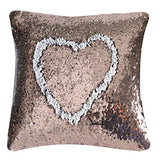 "023-(Champagne+White) : FUNOC Mermaid Reversible Sequin Magic Swipe Pillow Cover Sofa Throw Pillowcase Cushion Case 16""X16"""