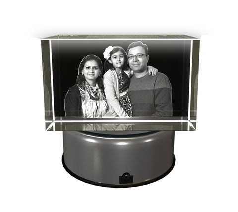 AADYA CRYSTAL Family 3D Photo Personalized Laser Engraved Crystal Cube (White)