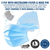 CCI 3 Ply Melt Blown Filter Non-Woven Disposable Non Surgical Face Mask with Nose Pin 20 GSM Unisex Dust-Proof Mouth Cover with Earloop for Personal Protection (50 Pcs)