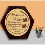Mother's Love Wooden Hexagon Plaque - {variant_title}} - wooden personalized - vtr - www.tcgonlinestore.com - www.tcgonlinestore.com