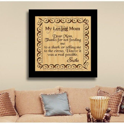 My Loving Mom Square Large Wooden Plaque - {variant_title}} - wooden personalized - vtr - www.tcgonlinestore.com - www.tcgonlinestore.com
