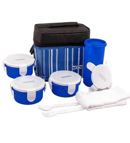 Nayasa Toasty Lunch Box with Bag Set of 7 Pcs - Blue - {variant_title}} - lunch box - jindal - www.tcgonlinestore.com - www.tcgonlinestore.com