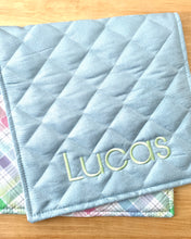 Load image into Gallery viewer, limited edition fresh plaid personalized change pad-blue