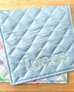 limited edition fresh plaid personalized change pad-blue