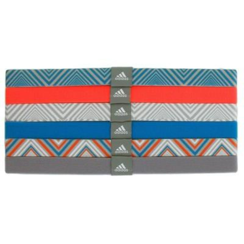 Women's Sidespin Hairband 6 Pack - White/Mid Grey/Solar Blue/Glow Orange