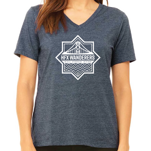 HFX Wanderers FC Simple Crest Women's V-Neck Tee - Navy Haze