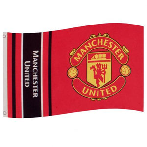 Manchester United - Wordmark Stripe Flag