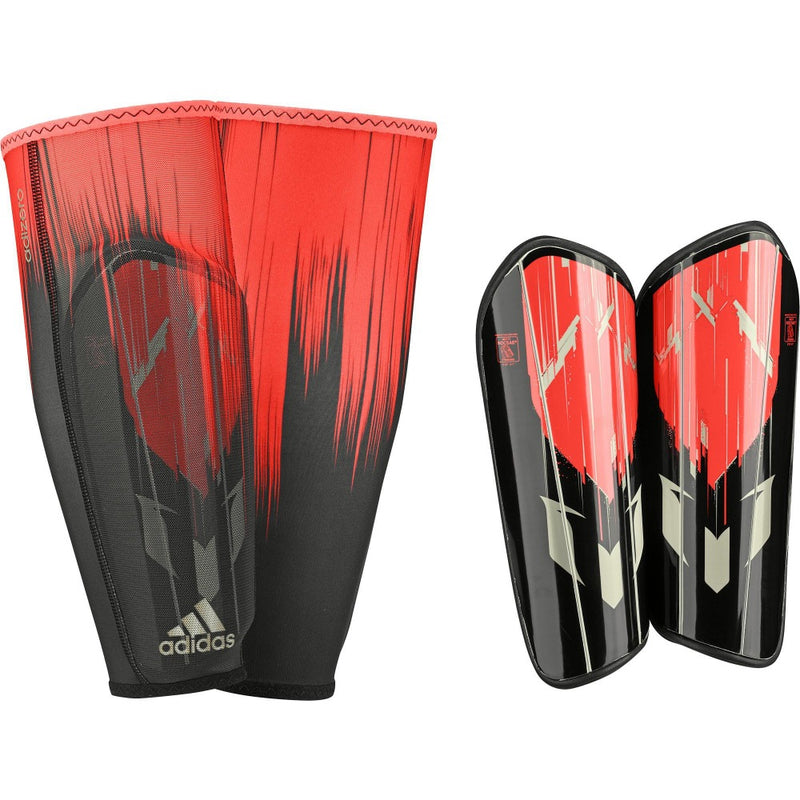 Messi 10 Pro Shin Guard - Solar Red/Core Black/Dust Metallic