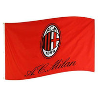 AC Milan 5X3 Bar Flag - Red/White/Black