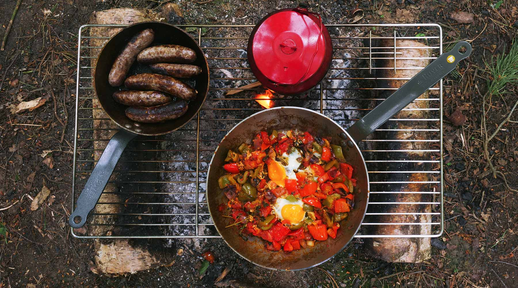 Shakshouka & Venison sausages in the woods