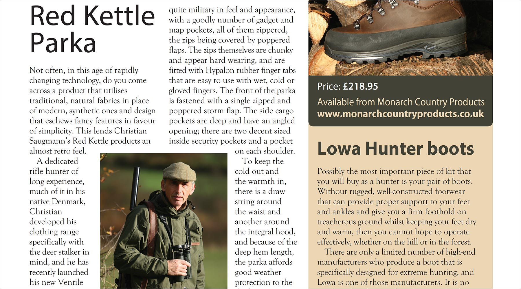 Review of RedKettle Hunting Parka M16 in Deer magazine