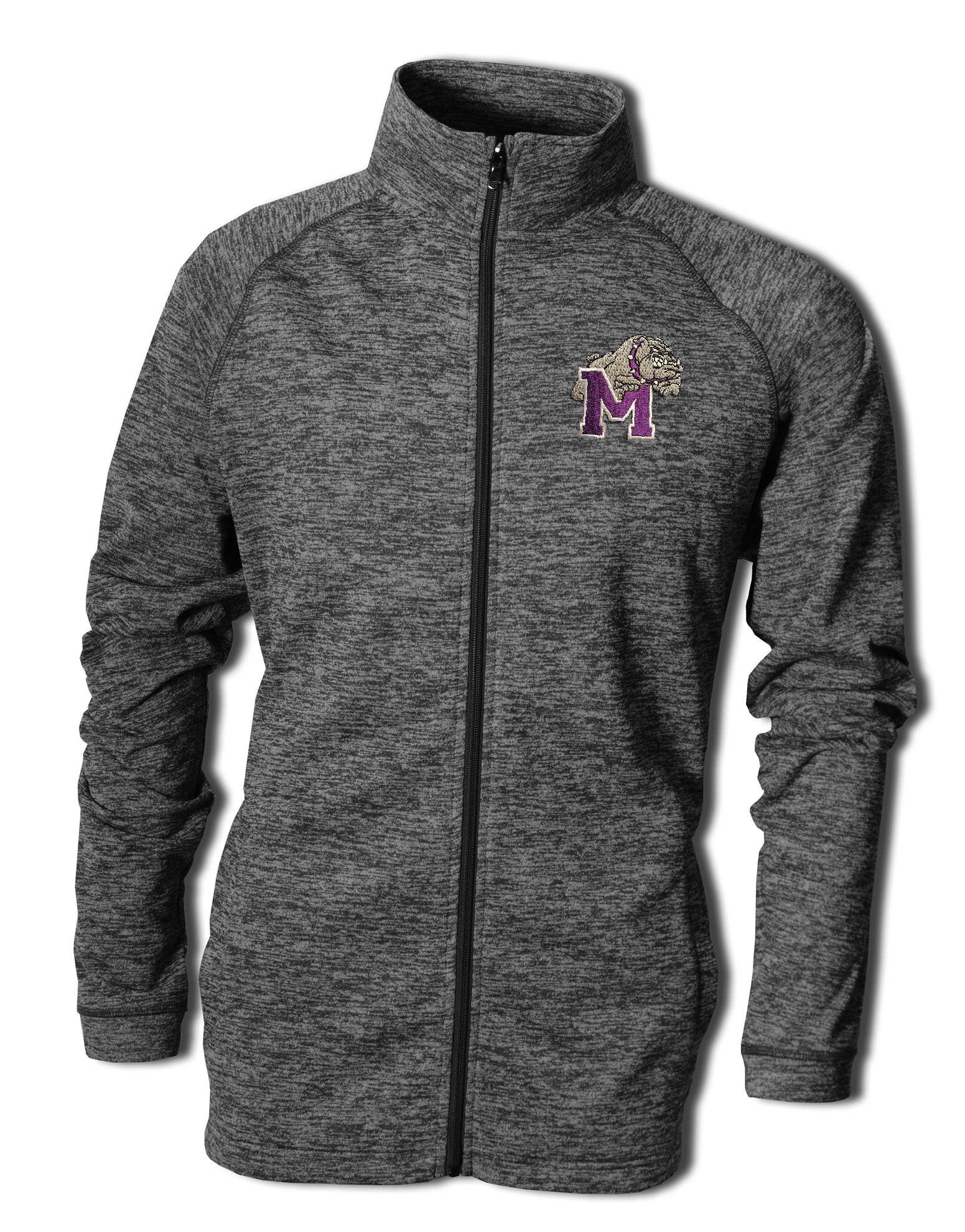 Adult Vintage Heather Full Zip with Bulldog Embroidery