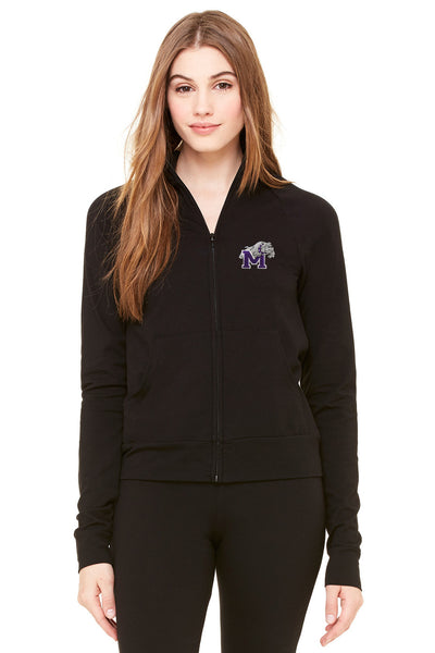Women's Cotton Spandex Cadet Jackets with Bulldog Embroidery