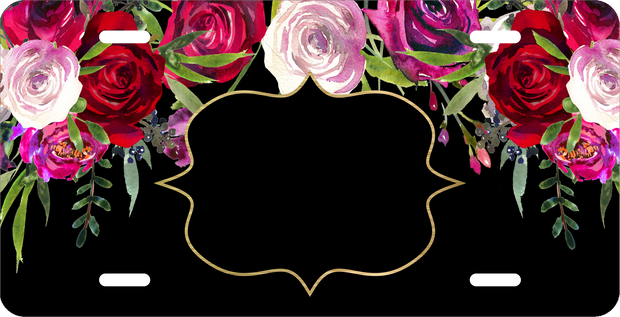 Black Rose Floral License Plate