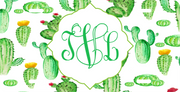 Cactus Monogram License Plate
