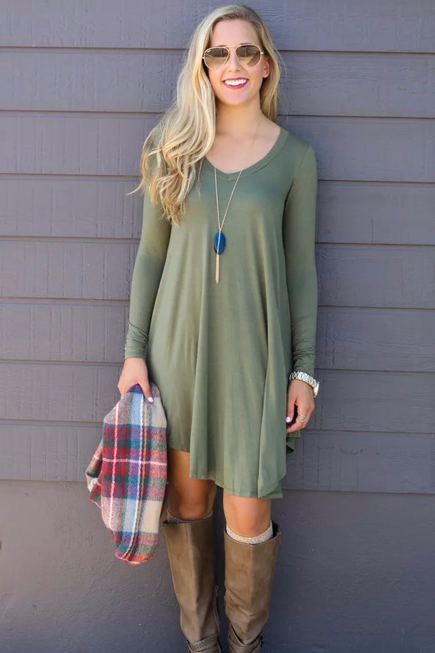 Long Sleeve Tunic T-Shirt Dress - Southland Graphics