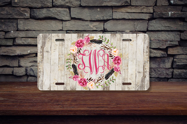 Rustic Wooden Pink Floral Monogram License Plate