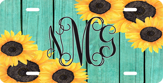 Sunflower Monogram License Plate