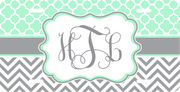 Teal and Grey Monogram License Plate
