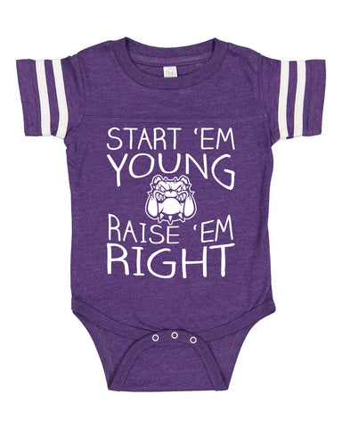 START EM' YOUNG RAISE 'EM RIGHT - Game Day Onesie