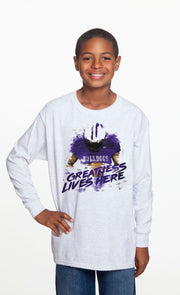 Youth Greatness Lives Here Spirit Shirt (Long Sleeve)