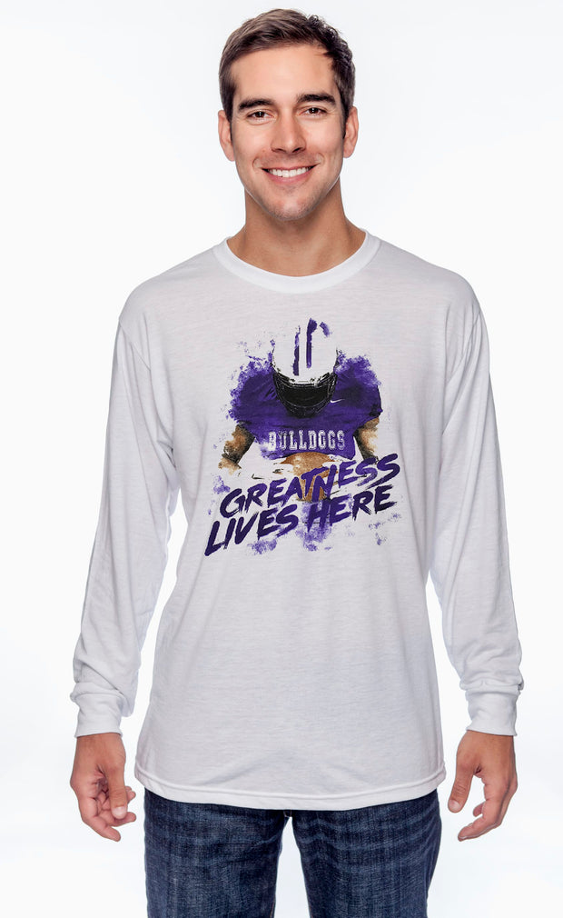 Adult Greatness Lives Here Spirit Shirt (Long Sleeve)