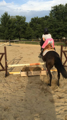 A customer shows off her pink and argyle full seat breeches while jumping her horse