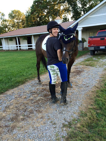 Beautiful horse, beautiful rider and beautiful breeches - love this customer rocking her blue argyle riding breeches!